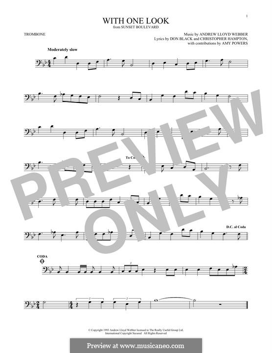 With One Look: For trombone by Andrew Lloyd Webber