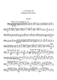 Zampa, ou La fiancée de marbre (Zampa, or the Marble Bride): Overture – bassoons part by Ferdinand Herold