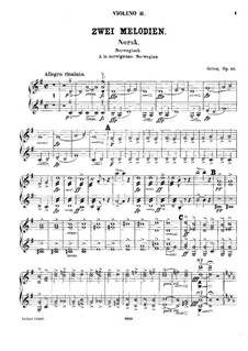Two Melodies for String Orchestra, Op.53: Violin II parts by Edvard Grieg