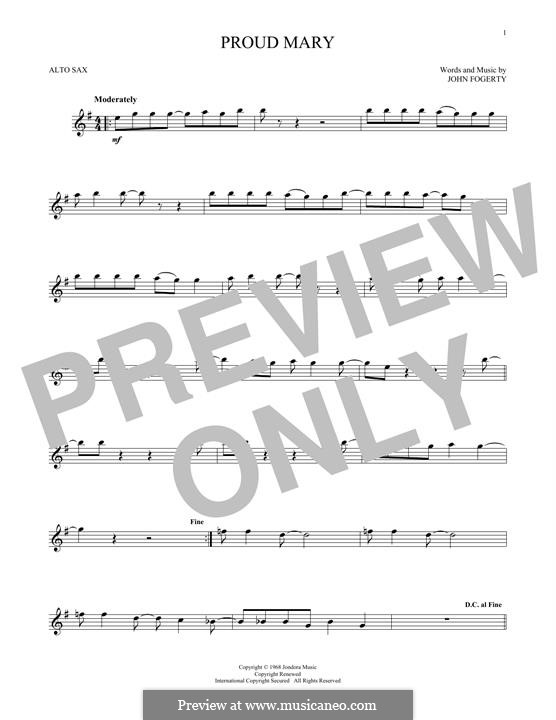 Proud Mary (Creedence Clearwater Revival): For alto saxophone by John C. Fogerty