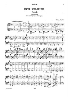 Two Melodies for String Orchestra, Op.53: Viola parts by Edvard Grieg
