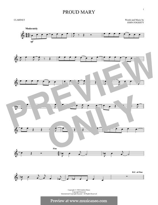 Proud Mary (Creedence Clearwater Revival): For clarinet by John C. Fogerty