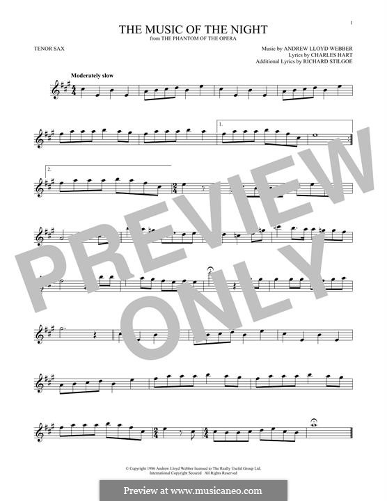 The Music of the Night: For tenor saxophone by Andrew Lloyd Webber