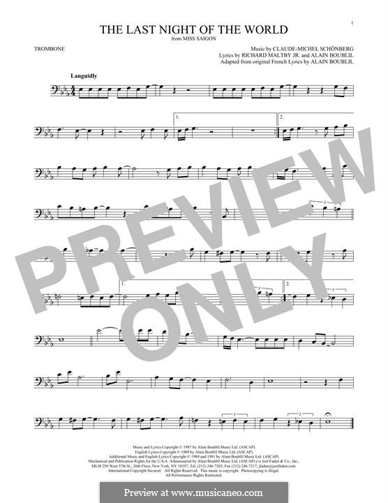 The Last Night of the World: For trombone by Claude-Michel Schönberg