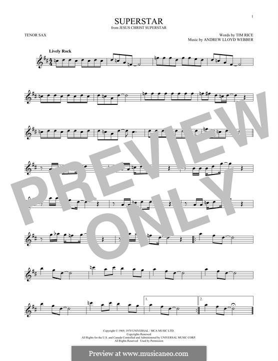 Superstar: For tenor saxophone by Andrew Lloyd Webber