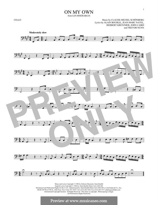 On My Own: For cello by Claude-Michel Schönberg