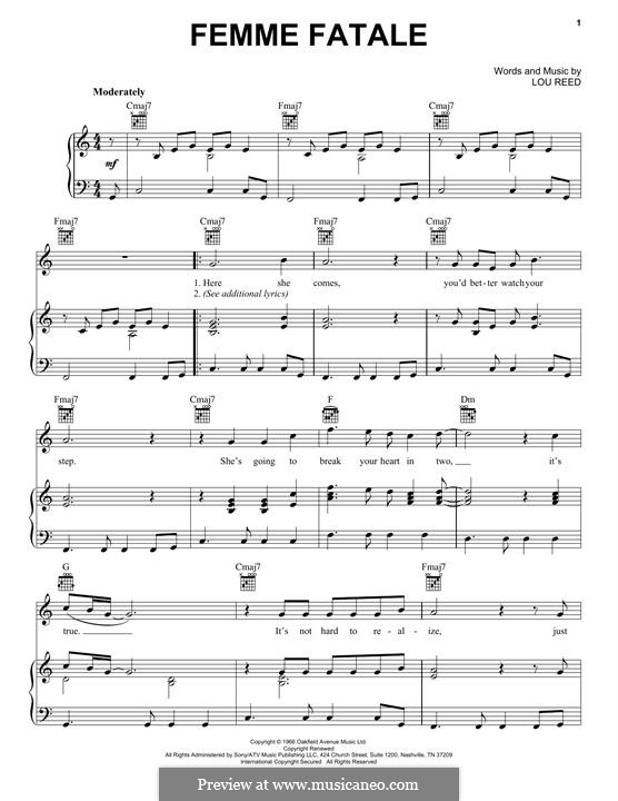 Femme Fatale By L Reed Sheet Music On Musicaneo