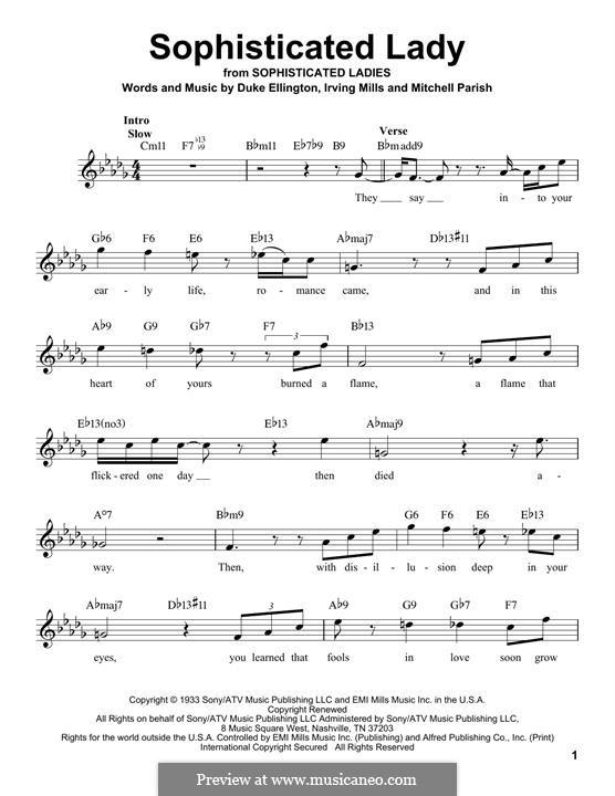 Sophisticated Lady: Melody line by Irving Mills, Duke Ellington, Mitchell Parish