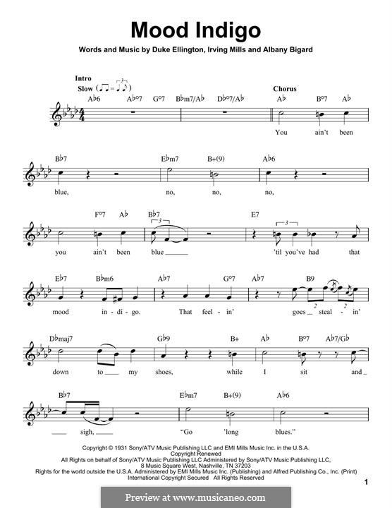 Mood Indigo: Melody line by Irving Mills, Albany Bigard, Duke Ellington