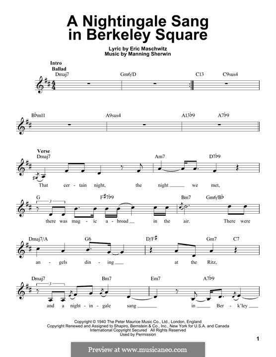 A Nightingale Sang in Berkeley Square: Melody line by Eric Maschwitz, Manning Sherwin