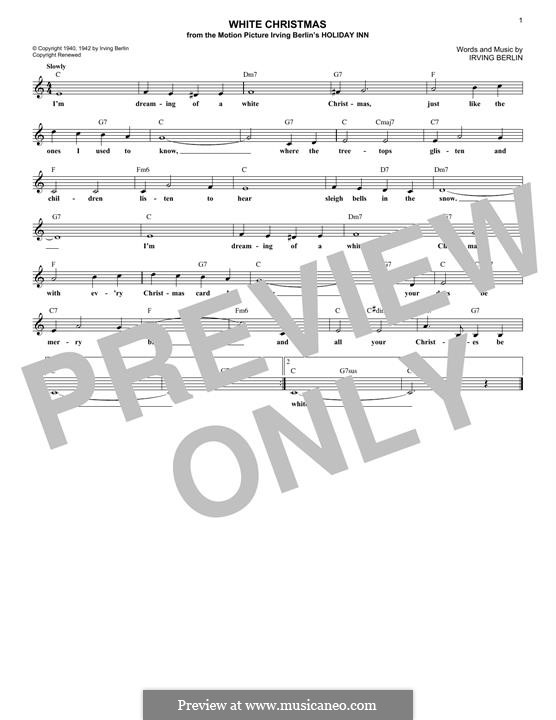 White Christmas: Melody line by Irving Berlin