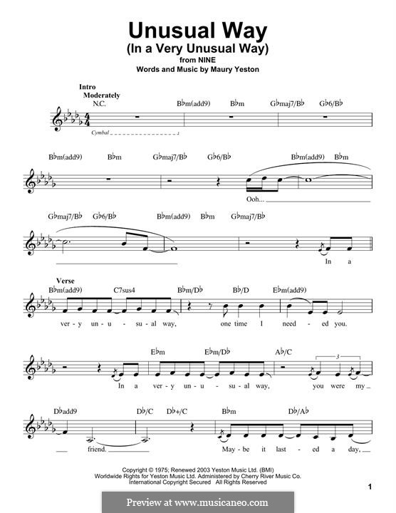 Unusual Way (In a Very Unusual Way): Melody line by Maury Yeston