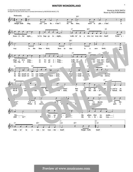 Winter Wonderland: Melody line by Felix Bernard