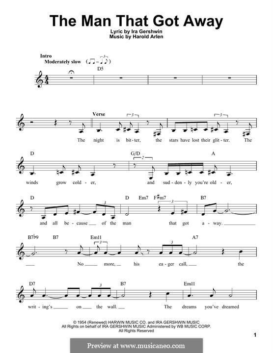 The Man That Got Away: Melody line by Harold Arlen