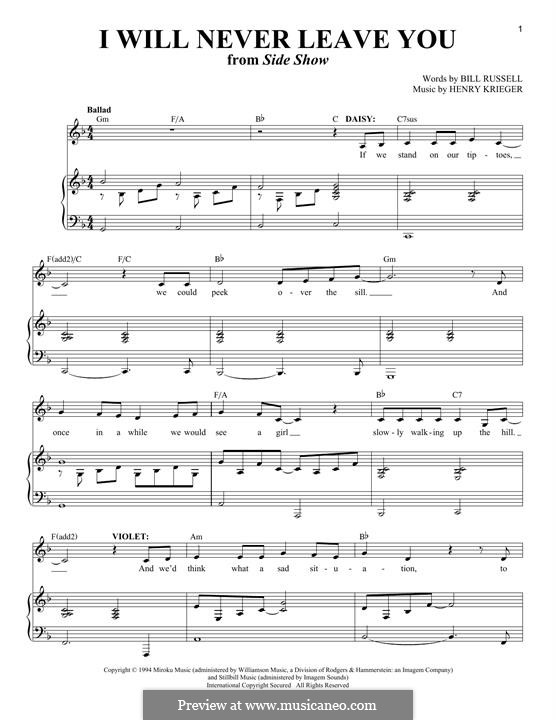 I Will Never Leave You (Bill Russell): For voice and piano by Henry Krieger