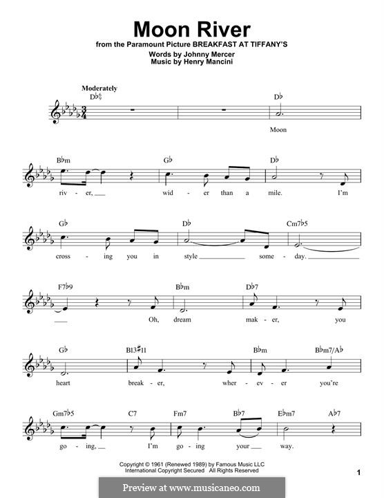 Moon River (from Breakfast at Tiffany's): Melody line by Henry Mancini