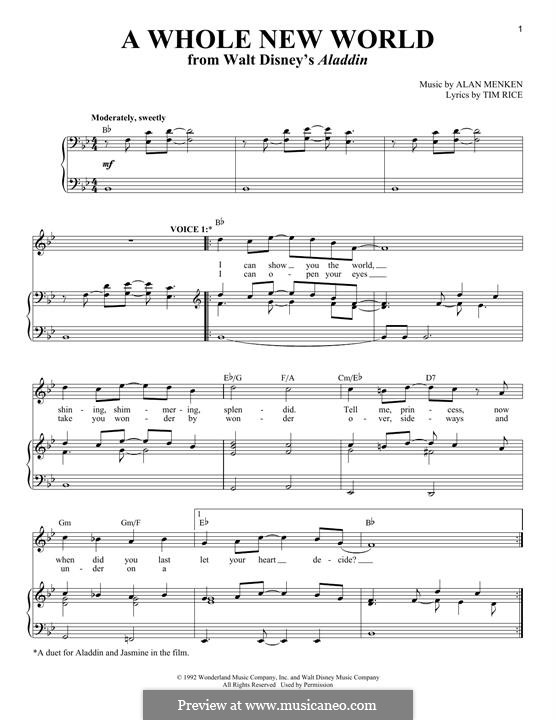 A Whole New World (from Aladdin): For voice and piano by Alan Menken