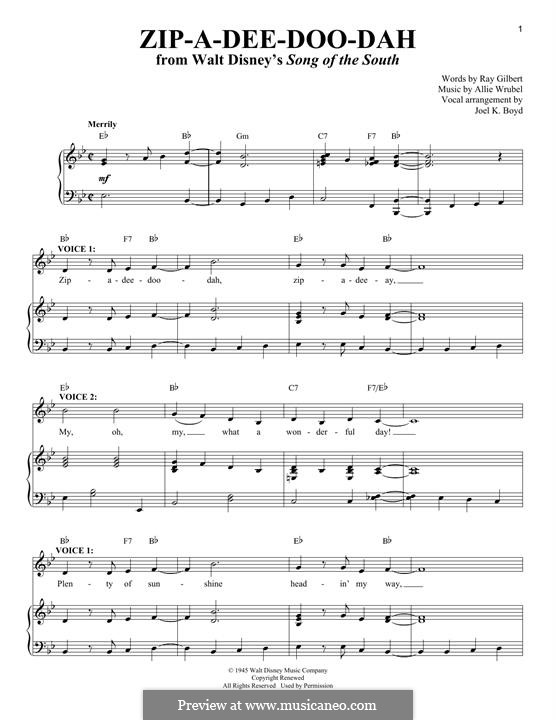 Zip-A-Dee-Doo-Dah: For voice and piano by Allie Wrubel