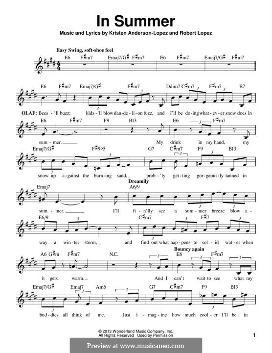 In Summer: Melody line by Robert Lopez, Kristen Anderson-Lopez