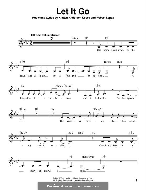 Let It Go (from Frozen): Melody line by Robert Lopez, Kristen Anderson-Lopez