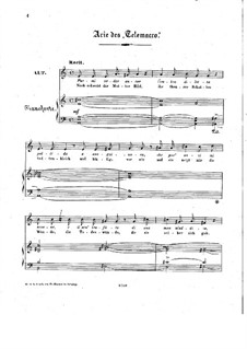 Telemaco, Wq.34: Aria 'Ah, non turbi', for voice and piano by Christoph Willibald Gluck