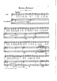 Telemaco, Wq.34: Aria 'Se per entro', for voice and piano by Christoph Willibald Gluck