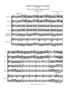 Concerto for Violin, Strings and Harpsichord in E Minor, RV 275: Score, parts by Antonio Vivaldi