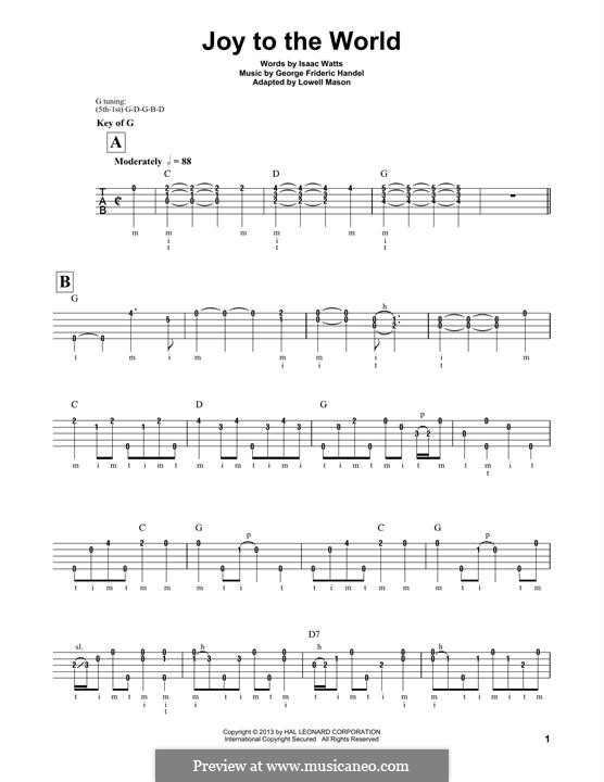Joy to the World (Printable Scores): For banjo by Georg Friedrich Händel