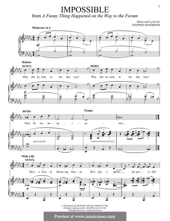 Impossible: For voice and piano by Stephen Sondheim
