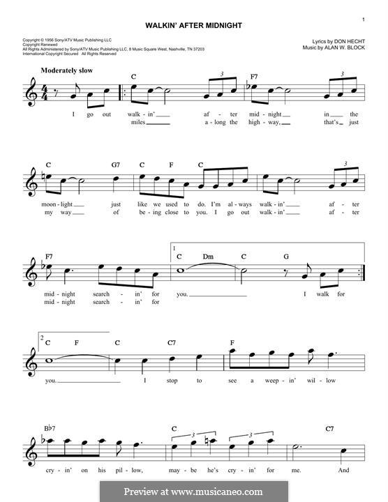 Walkin' After Midnight (Patsy Cline): Melody line by Alan W. Block