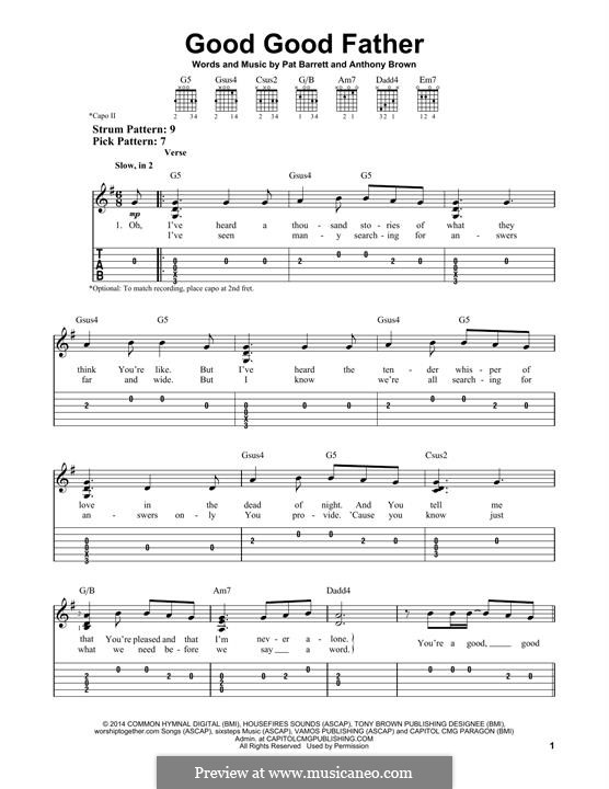 Good Good Father (Chris Tomlin): For guitar with tab by Anthony Brown, Pat Barrett