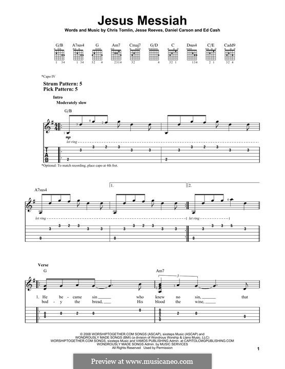 Jesus Messiah: For guitar with tab by Chris Tomlin, Daniel Carson, Ed Cash, Jesse Reeves