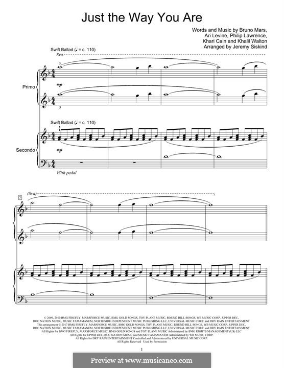 Just the Way You are: For piano four hands by Ari Levine, Khalil Walton, Khari Cain, Bruno Mars, Philip Lawrence