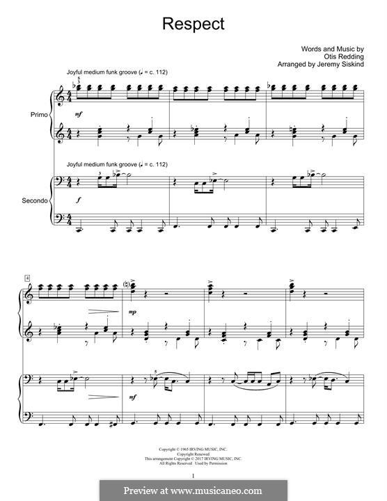 Respect (Aretha Franklin): For piano by Otis Redding