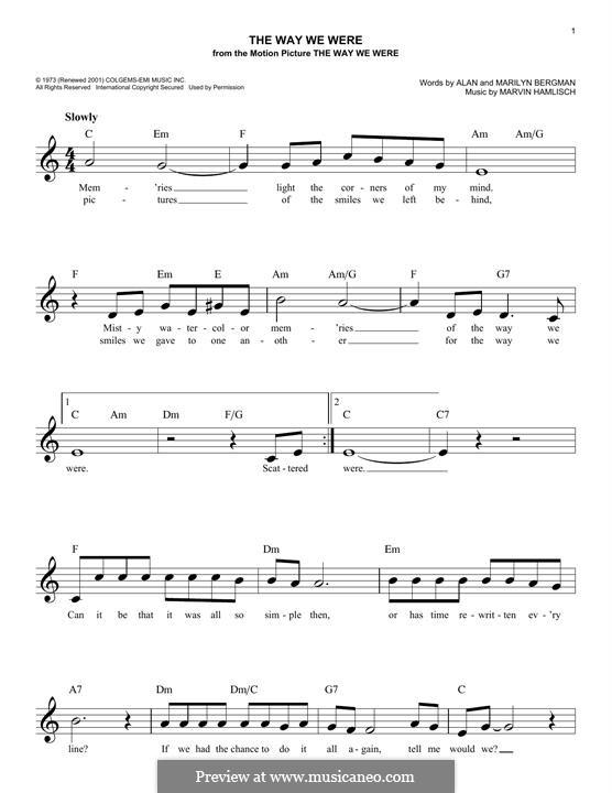 The Way We Were (Barbra Streisand): Melody line by Marvin Hamlisch