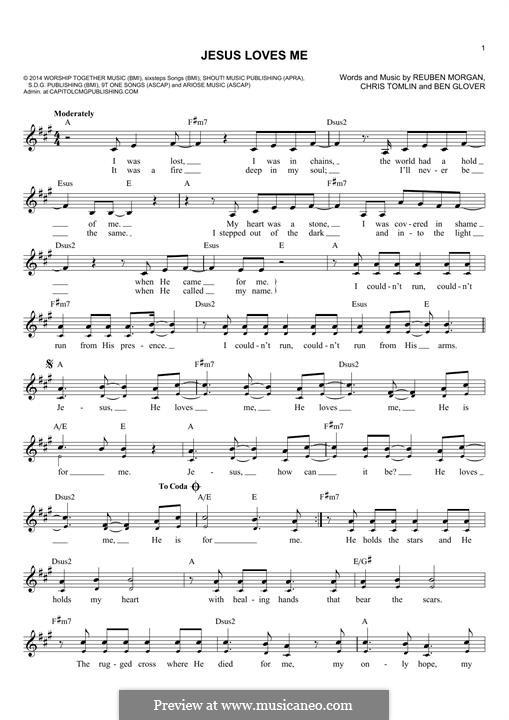 Jesus Loves Me: Melody line by Ben Glover, Chris Tomlin, Reuben Morgan