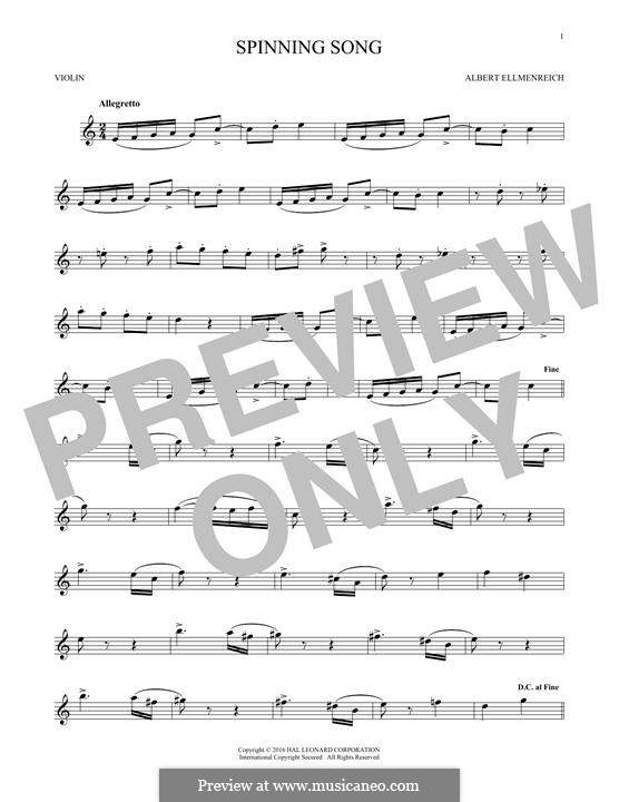 The Spinning Song: For violin by Albert Ellmenreich