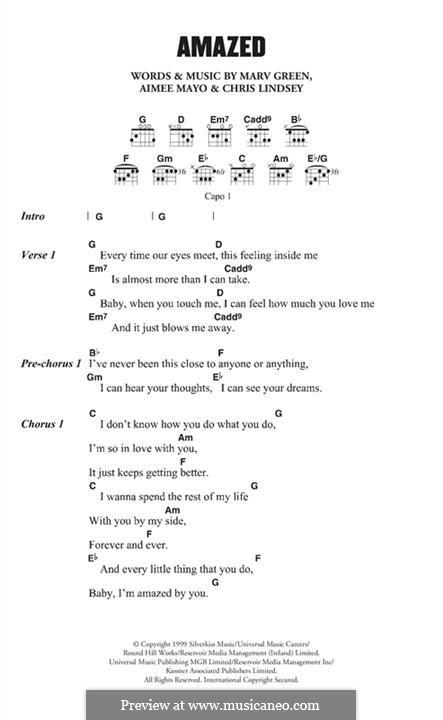 Amazed (Lonestar): Melody line by Aimee Mayo, Chris Lindsey, Marv Green