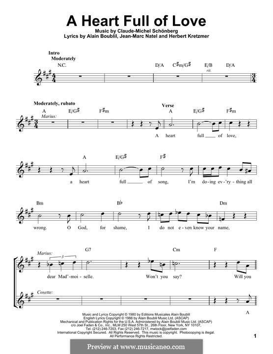 A Heart Full of Love: Melody line by Claude-Michel Schönberg