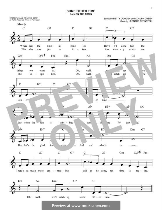 Some Other Time (from On The Town) : Melody line by Leonard Bernstein