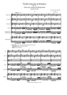 Concerto for Violin and Strings in D Minor, RV 235: Score, parts by Antonio Vivaldi