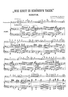 Pieces for Cello and Piano, Op.64: No.1 Once in Fairer Days for cello or violin – score, solo part by David Popper