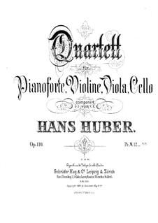 Piano Quartet No.1 in B Flat Major, Op.110: Full score by Hans Huber