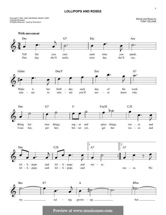 Lollipops and Roses (Jack Jones): Melody line by Tony Velona