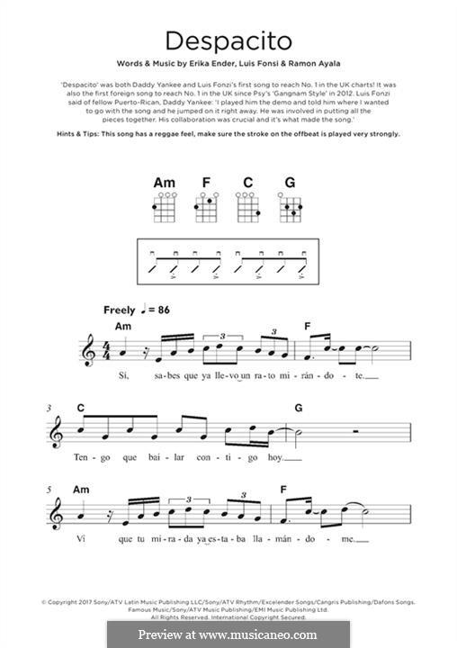 Despacito (feat. Justin Bieber): For ukulele by Luis Fonsi, Erika Ender, Ramon Ayala