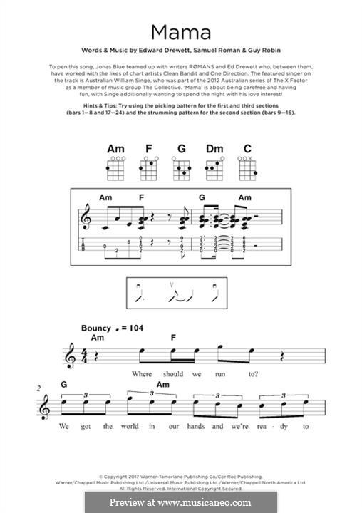 Mama (Jonas Blue feat. William Singe): For ukulele by Ed Drewett, Sam Romans, Guy Robin