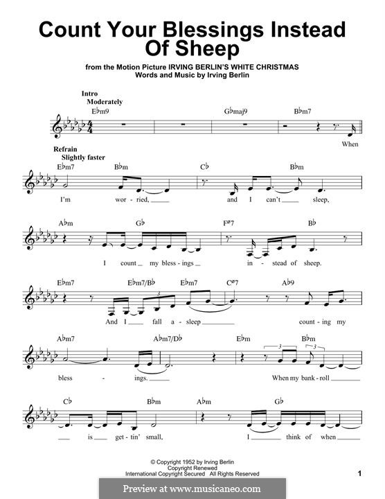 Count Your Blessings Instead of Sheep: Melody line by Irving Berlin