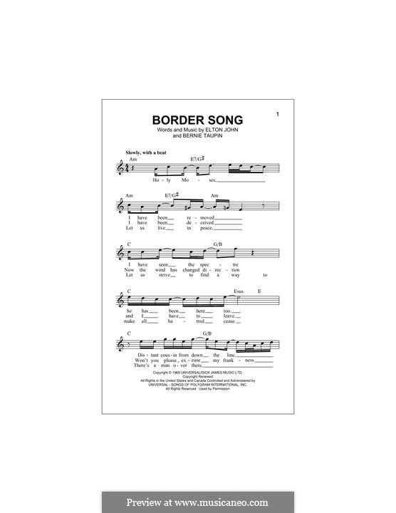 Border Song: Melody line by Elton John