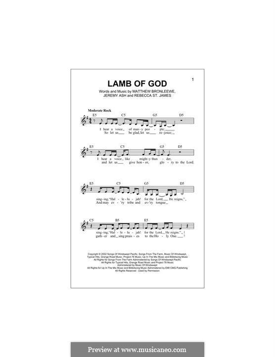 Lamb of God: Melody line by Jeremy Ash, Matt Bronleewe, Rebecca St. James