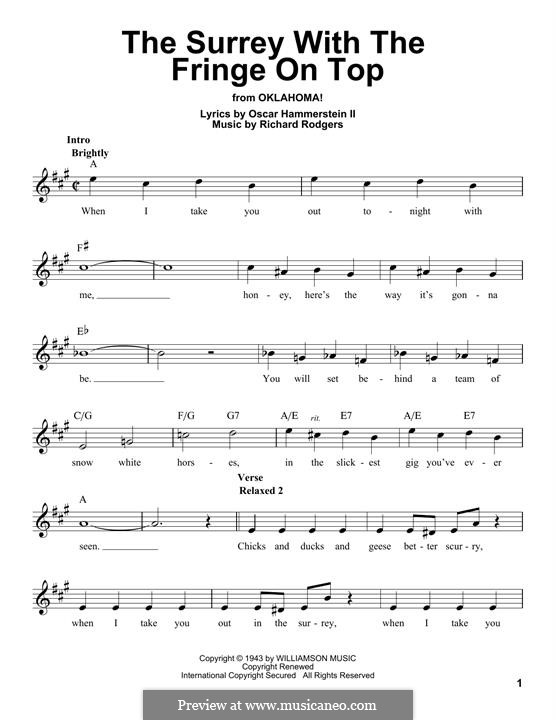 The Surrey with the Fringe on Top: Melody line by Richard Rodgers